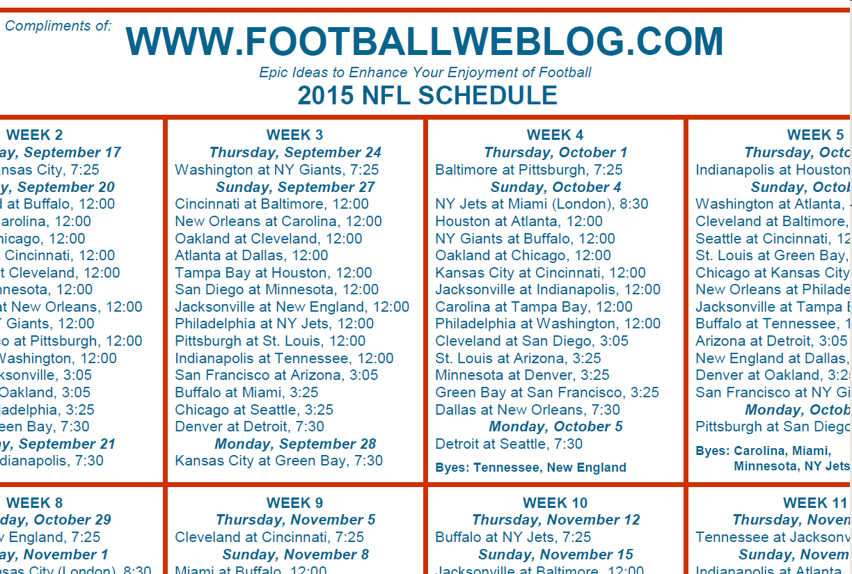 Divine image pertaining to printable one page nfl schedule