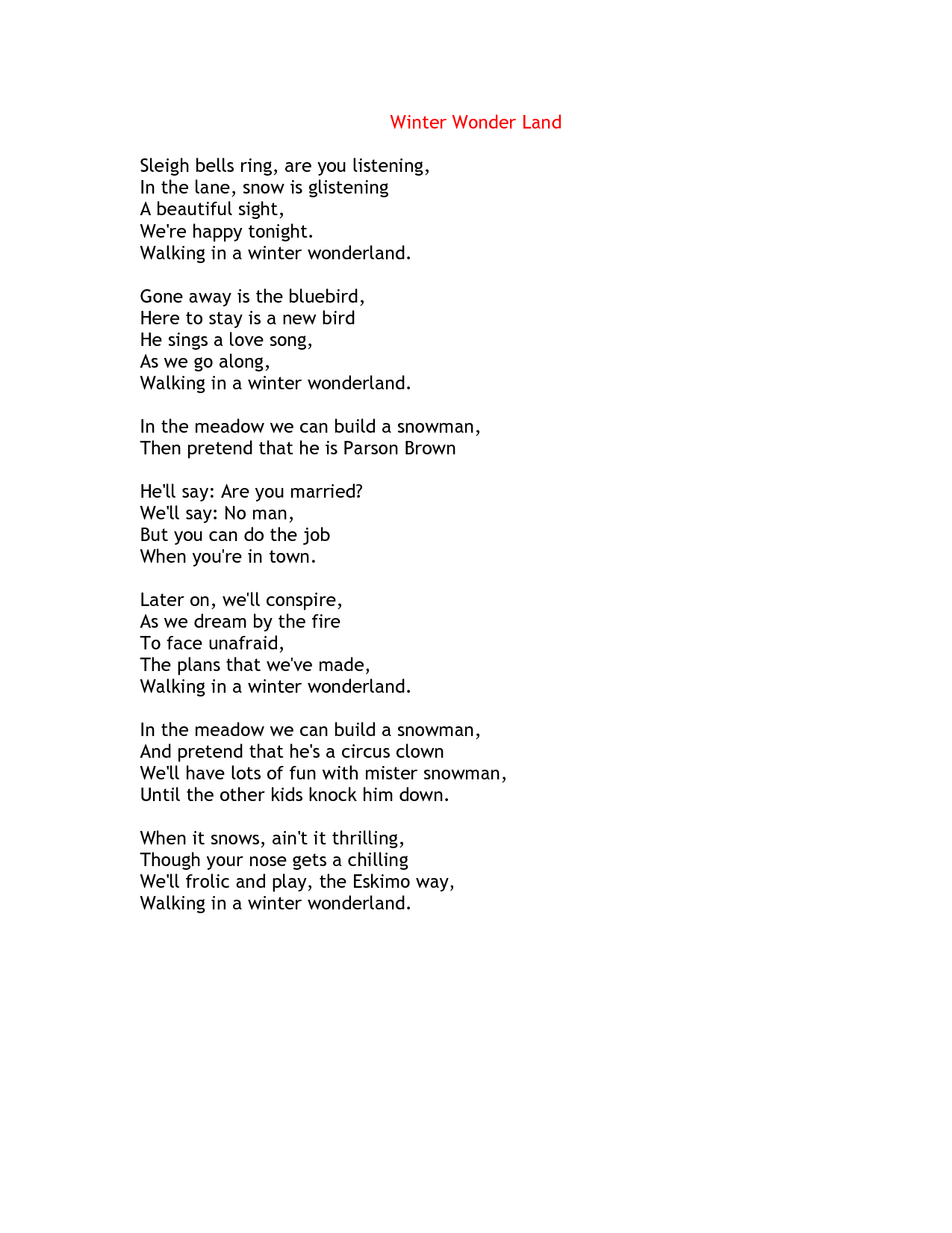 Winter Song Lyrics