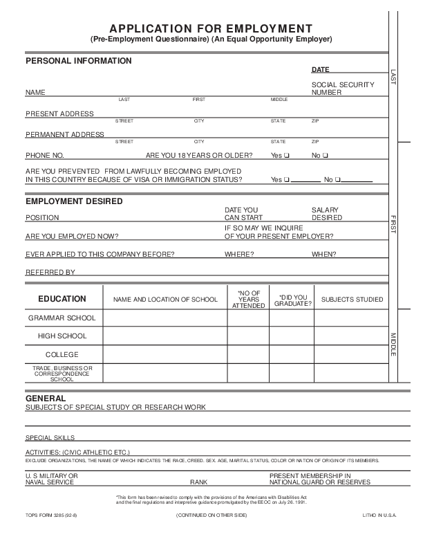 It's just a graphic of Hilaire Printable Employment Application Form