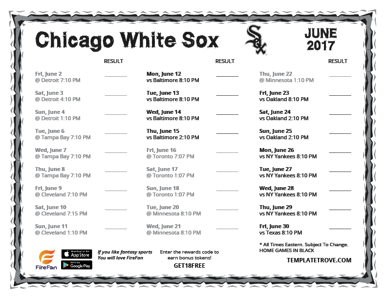 image regarding Chicago Cubs Schedule Printable titled white sox printable plan PrintableTemplates